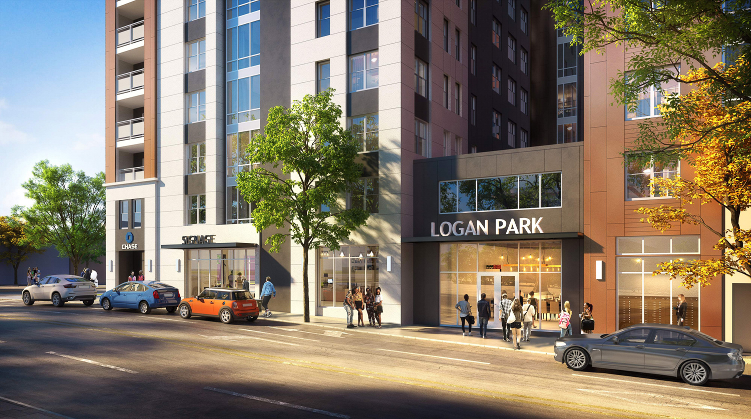 2352 Shattuck Avenue phase one residential entrance, rendering by Niles Bolton Associates
