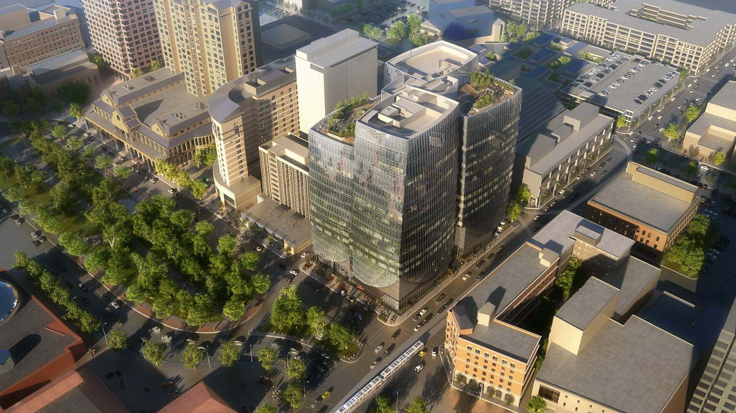 282 South Market Street aerial view, design by Arquitectonica