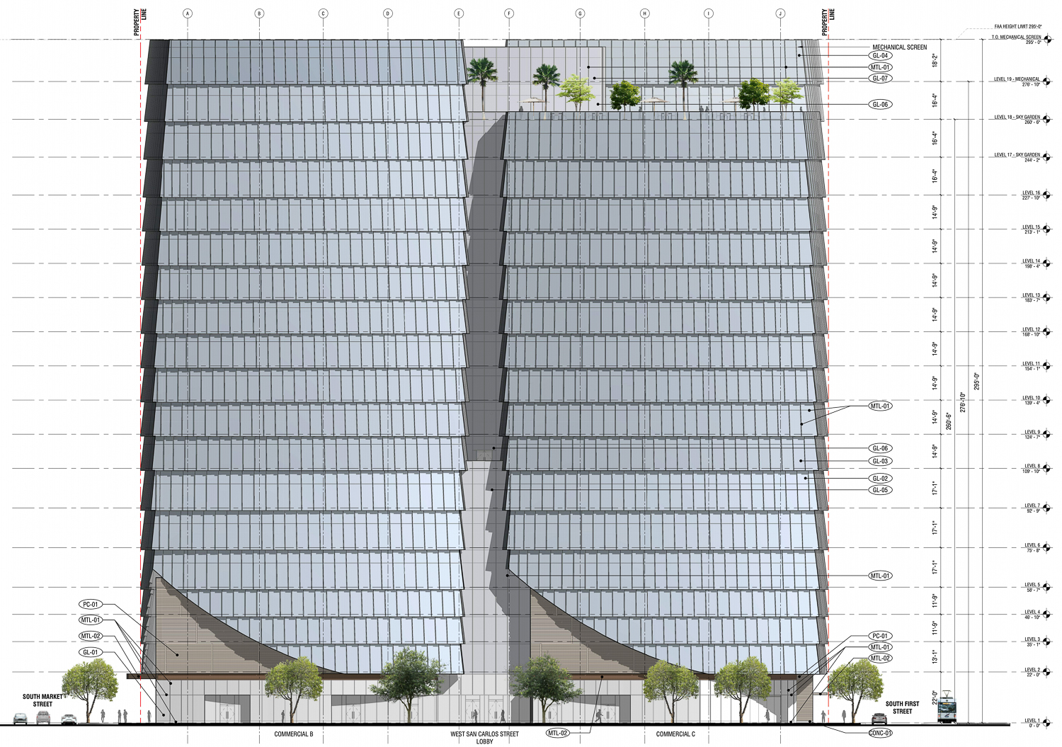 282 South Market Street vertical elevation, design by Arquitectonica