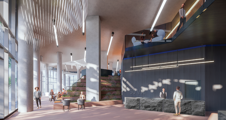 30 Van Ness Avenue office lobby, design by Solomon Cordwell Buenz