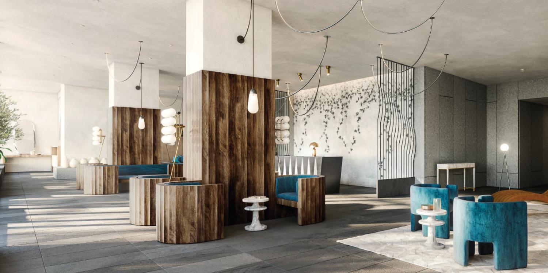 30 Van Ness Avenue residential lobby, design by Solomon Cordwell Buenz