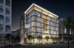 345 4th Street at night, rendering by Stanton Architecture