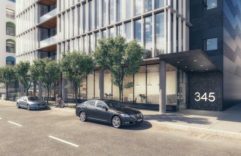 345 4th Street sidewalk view, rendering by Stanton Architecture