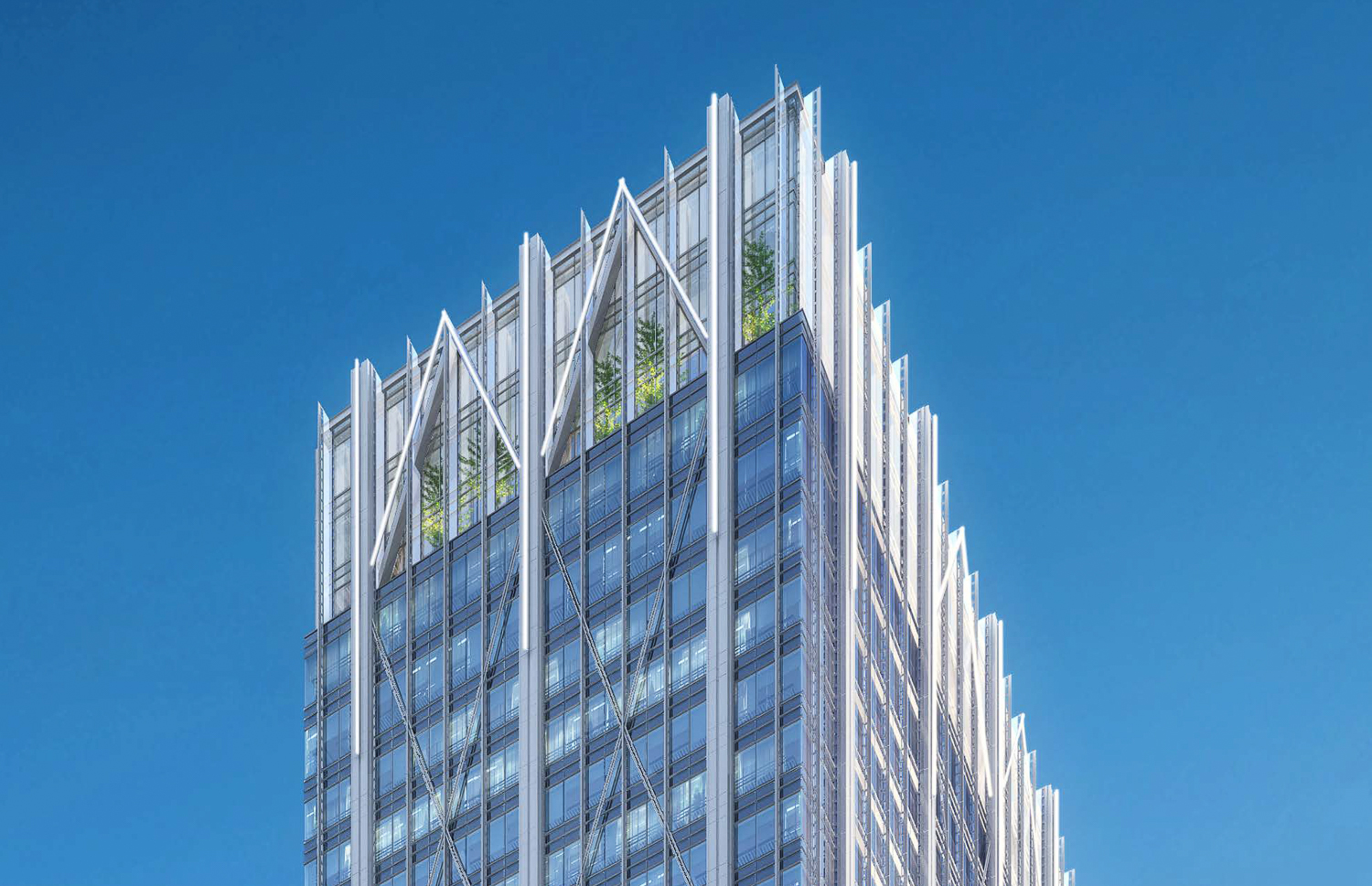 415 20th Street crown and observation deck at night, rendering from Hines