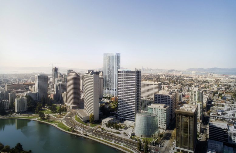415 20th Street in the Oakland downtown skyline, rendering from Hines