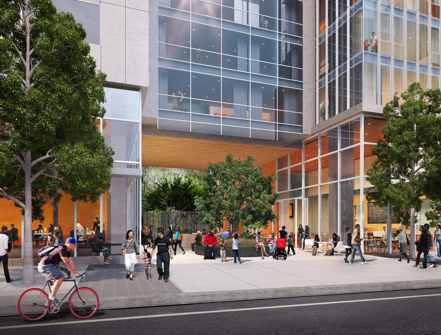 500 Folsom Street courtyard, rendering by Fougeron Architecture