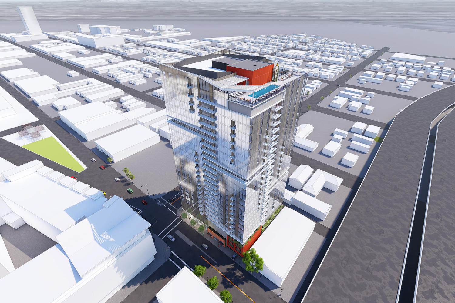 600 South 1st Street Garden Gate tower aerial view, rendering by C2K Architecture