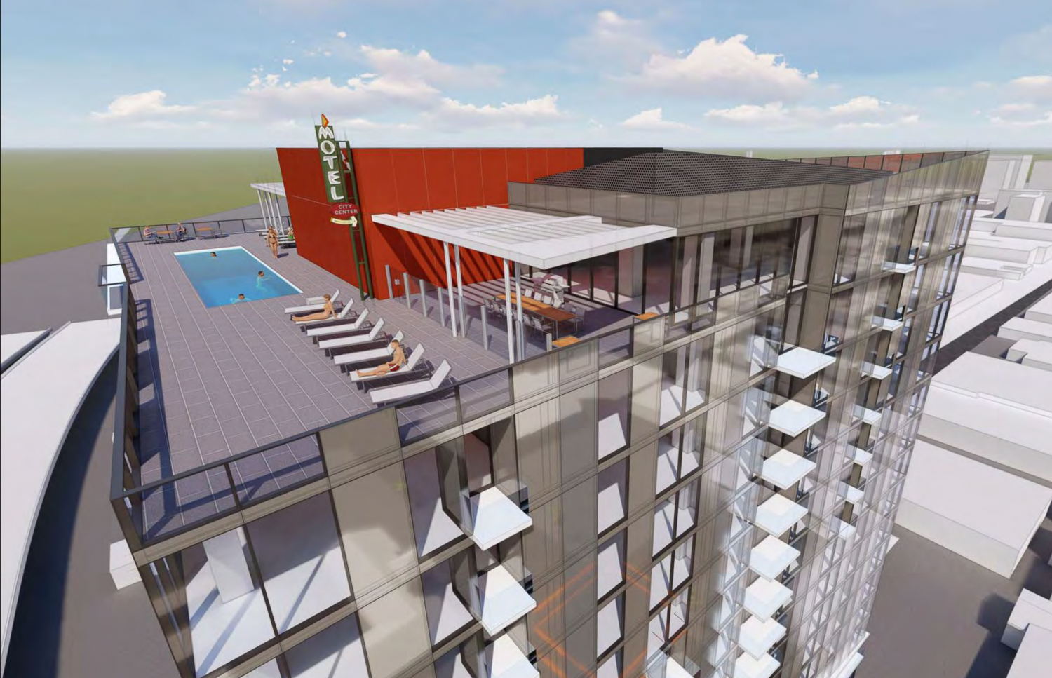 600 South 1st Street Garden Gate tower rooftop terrace, rendering by C2K Architecture