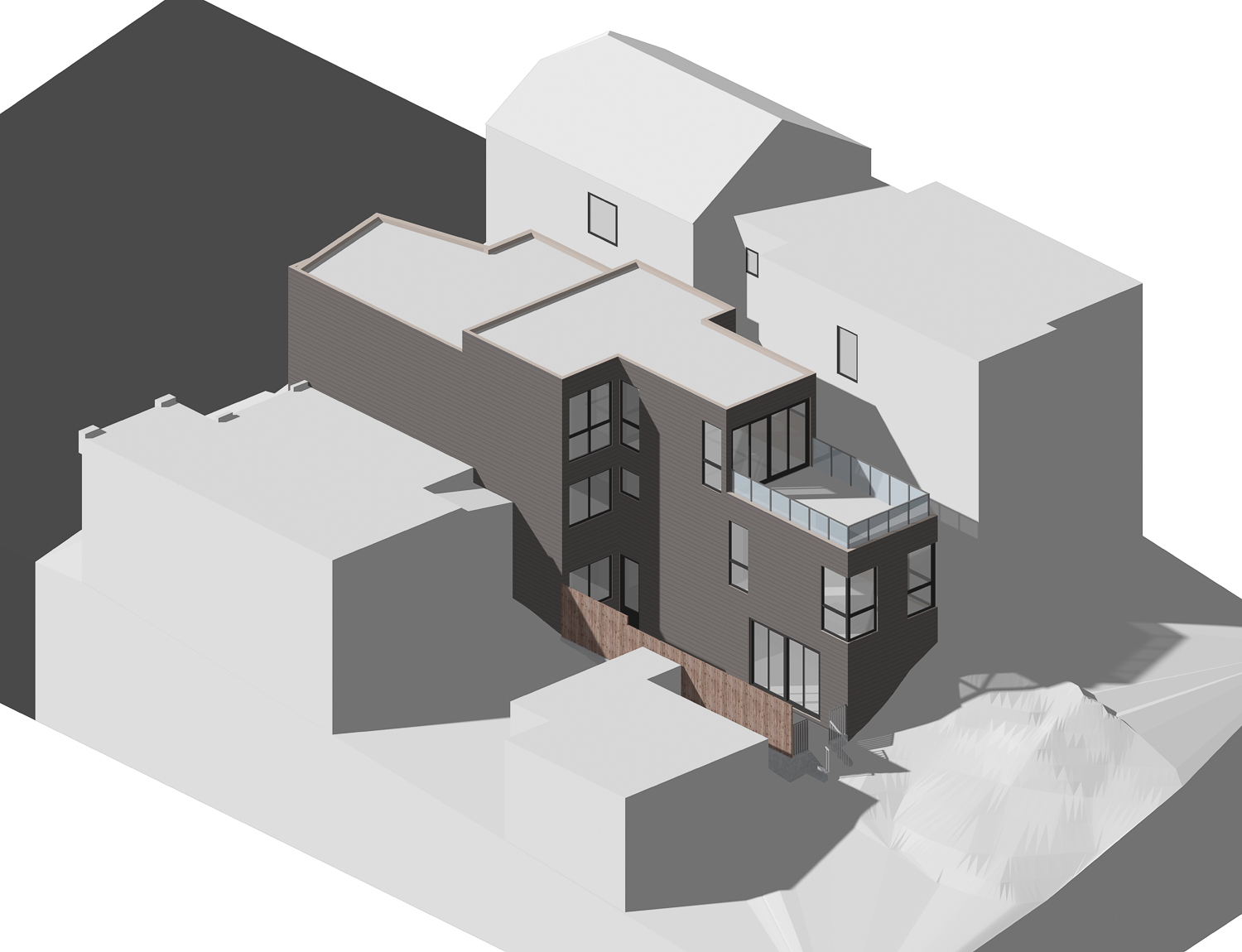 731 Peralta Avenue aerial view, elevation by SIA Consulting