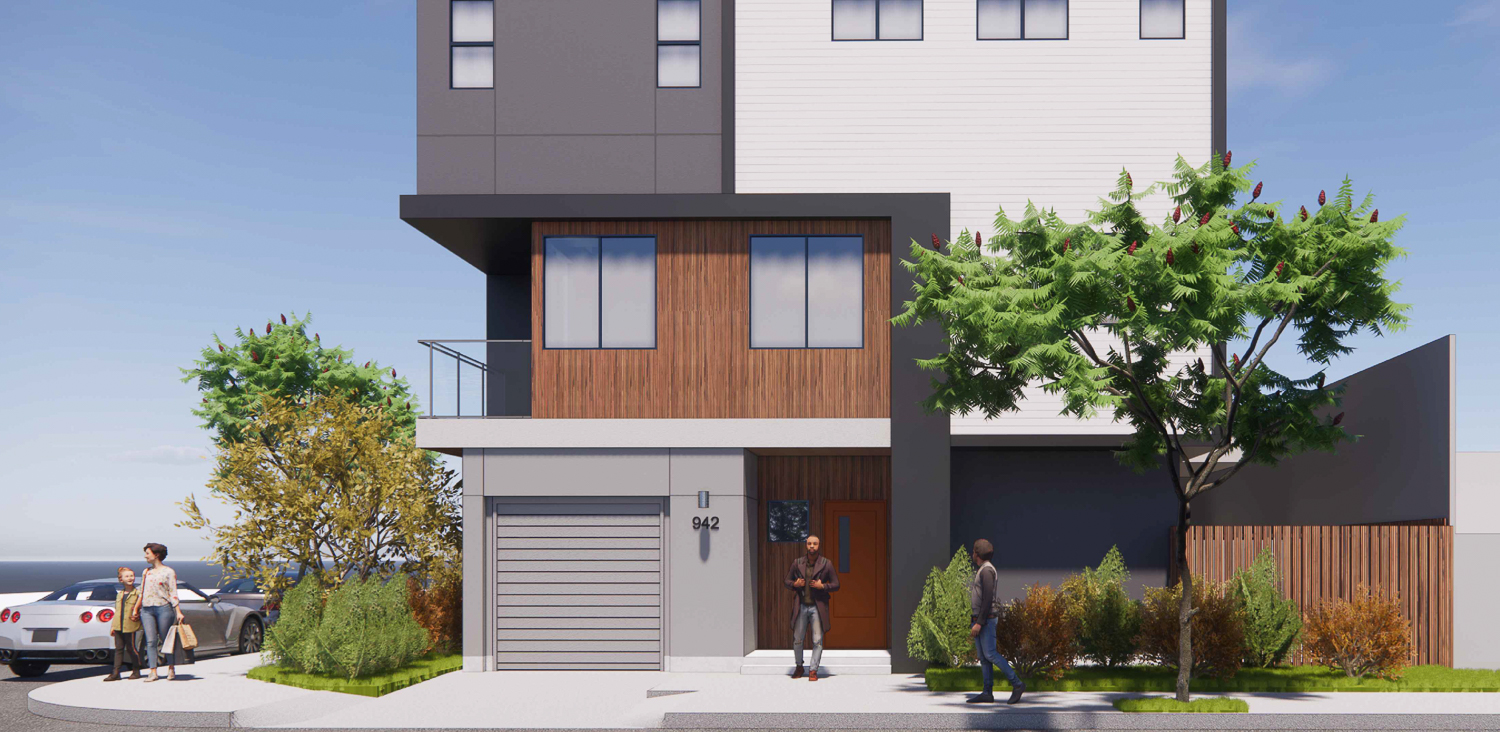 942 Pine Street entry, rendering by Collaborative Design Studio