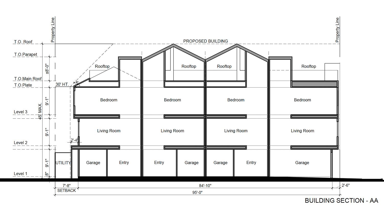 942 Pine Street interior elevation, illustration by Collaborative Design Studio