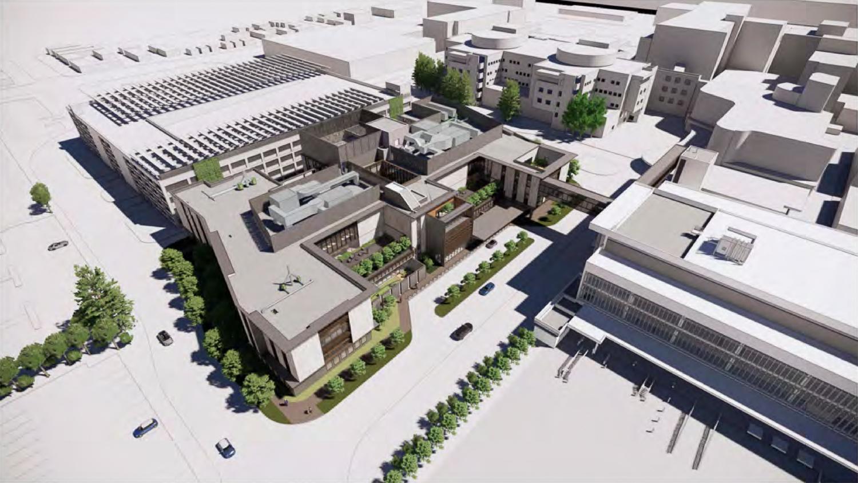 Behavior Health Services Building aerial view, rendering courtesy Santa Clara County