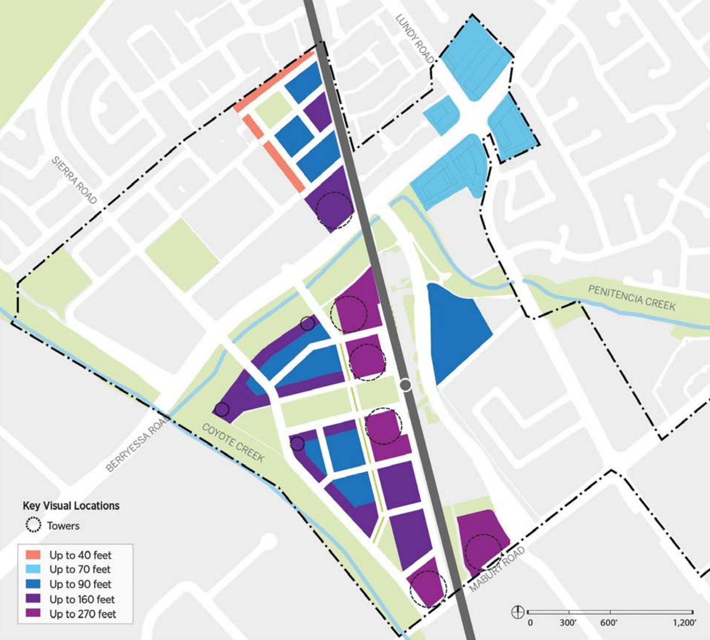 Berryessa BART Urban Village plan height limit diagram, image via the San Jose Planning Department