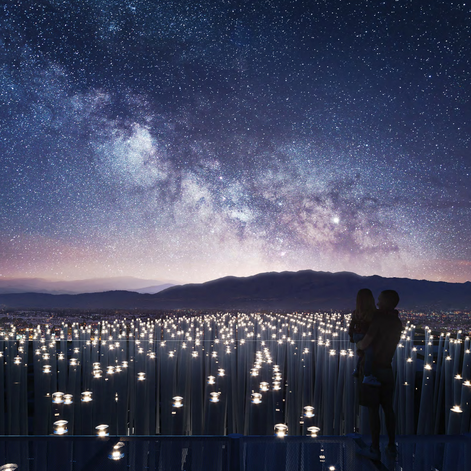 Breeze of Innovation observation platform, with lights that react to wind, rendering from SMAR Architecture