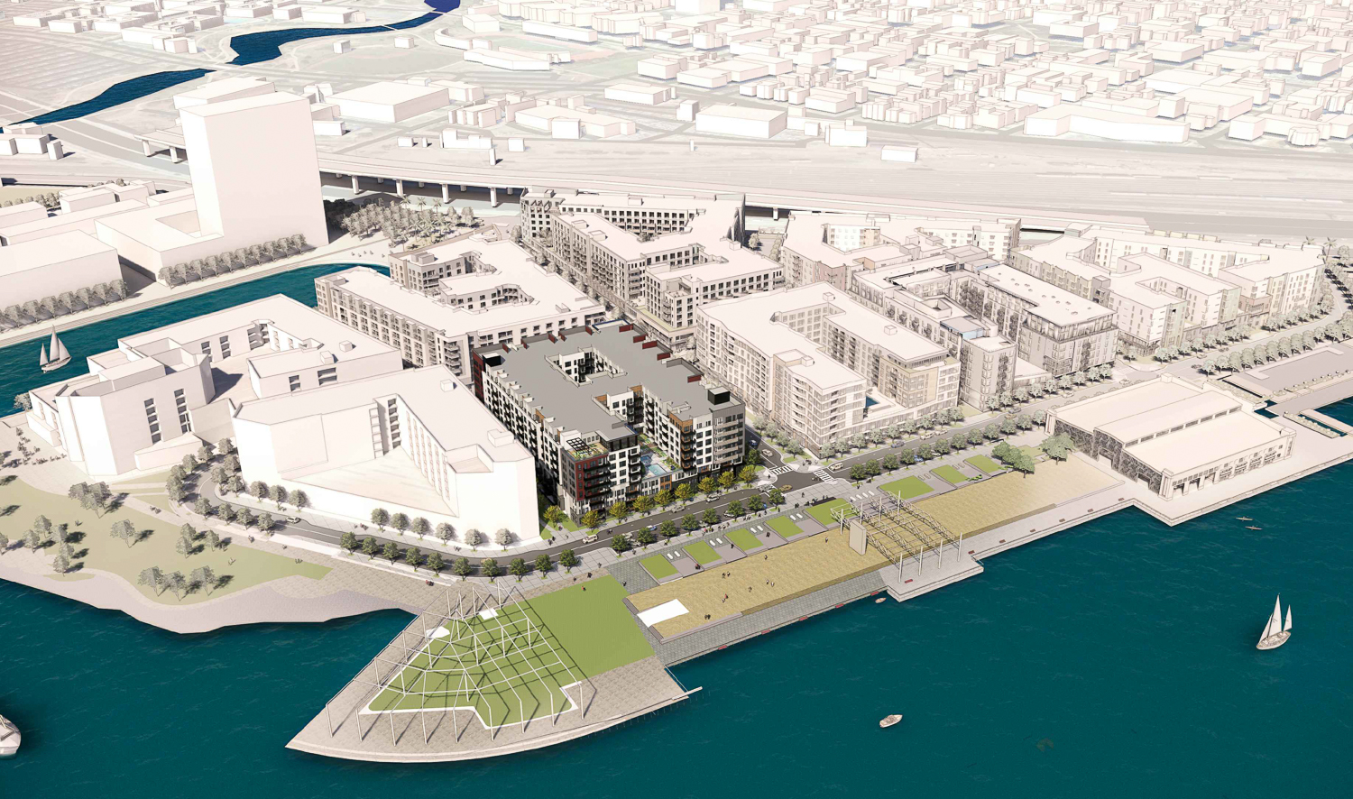 Brooklyn Basin Parcel D aerial view, rendering of design by Architecture Design Collaborative
