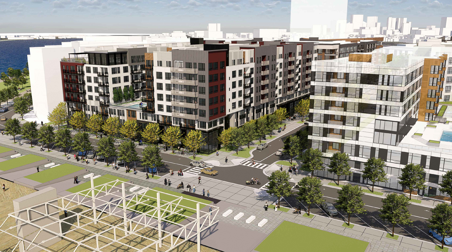 Brooklyn Basin Parcel D at One Ninth Avenue across from the Shoreline Park, rendering of design by Architecture Design Collaborative