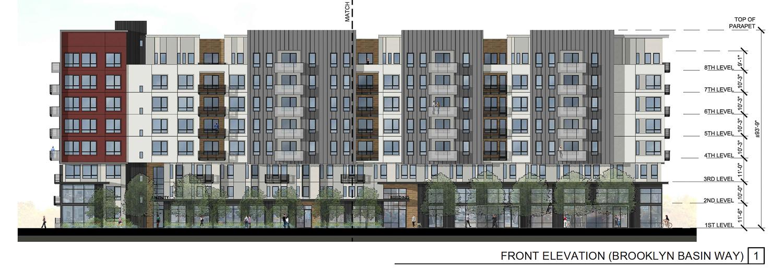 Brooklyn Basin Parcel D at One Ninth Avenue vertical elevation, illustration by MJS Landscape Architecture