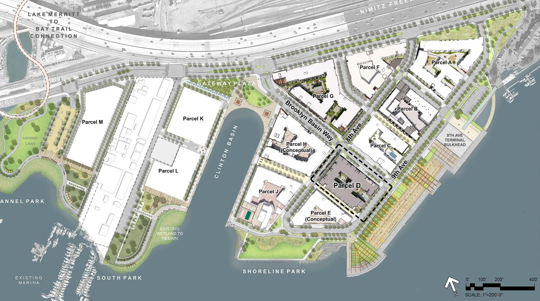 Brooklyn Basin overall site plan, rendering courtesy Anton DevCo