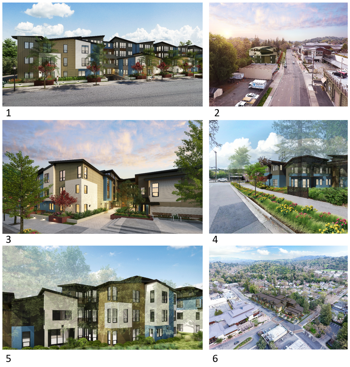 Collage of six views for 3483 Golden Gate Way, rendering courtesy Levy Design Partners