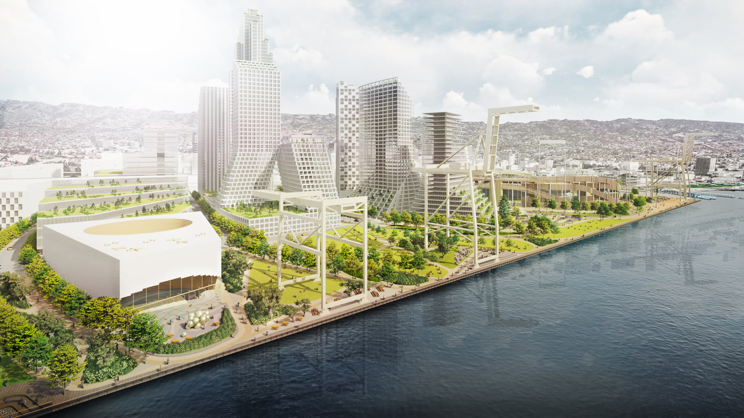 Development proposed adjacent to the Oakland Ball Park, rendering by BKF Engineers