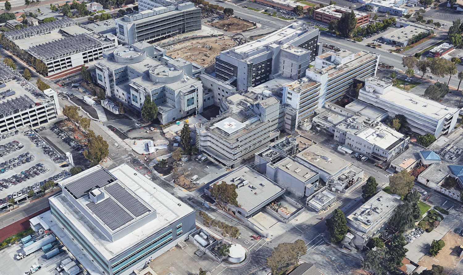 Existing structure on future site of the Behavior Health Services Building, image via Google Satellite