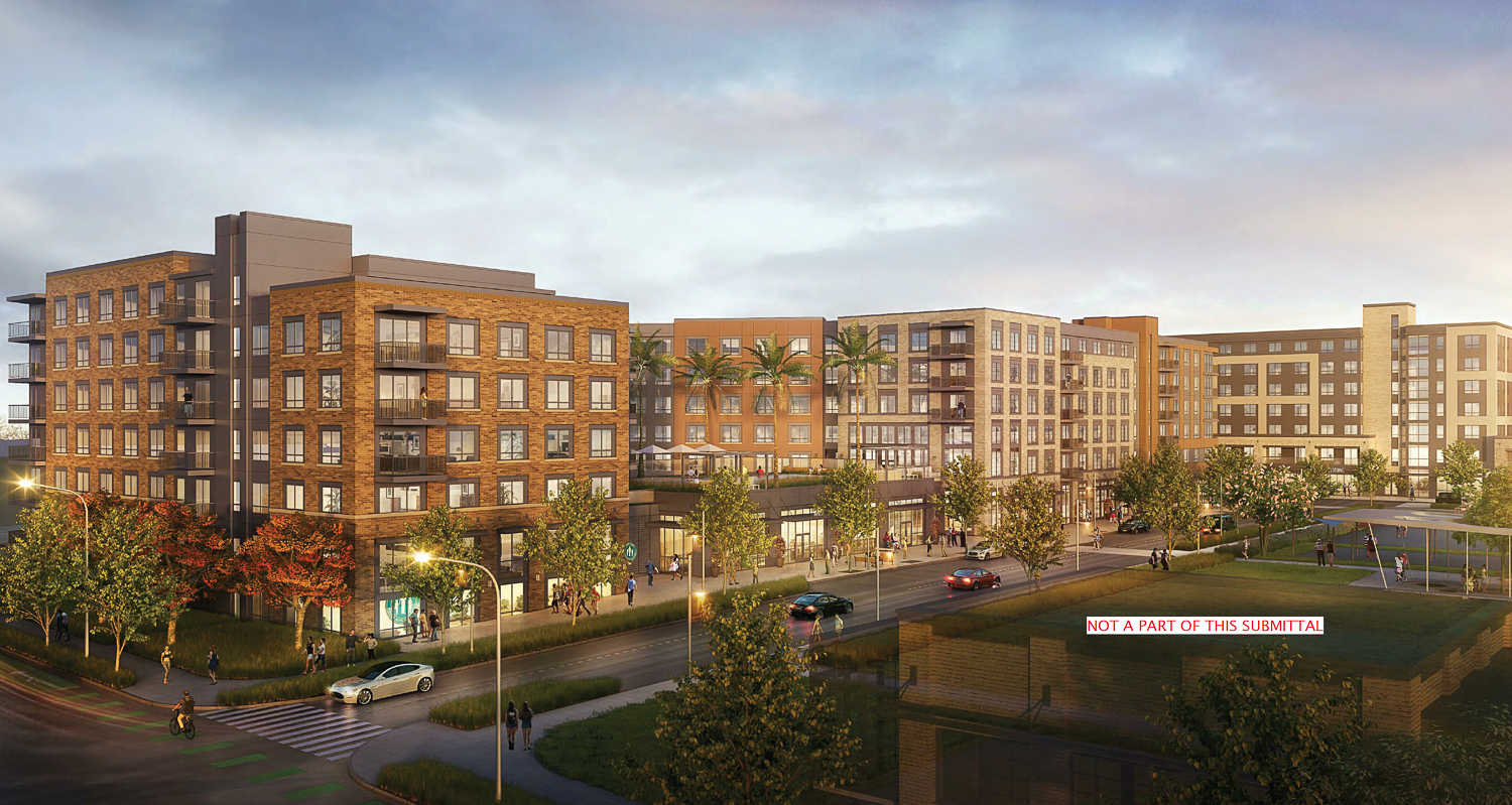 Gateway Crossing phase one Building One adjacent to the open parks, rendering by MVE and Partners