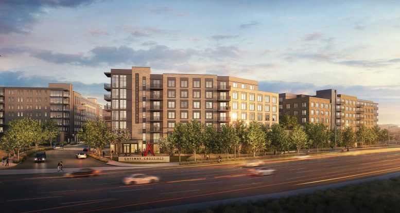 Gateway Crossings phase one Building One exterior view, rendering by MVE and Partners