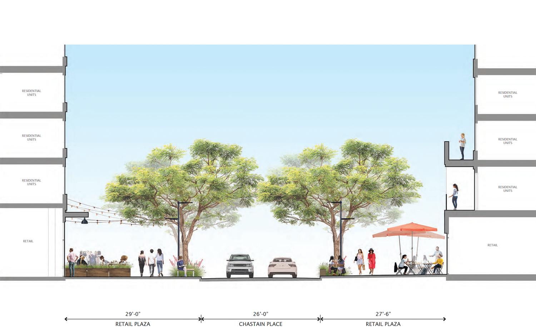 Gateway Crossing phase one retail plaza sidewalk landscaping, rendering by Petersen Studio Landscape Architecture