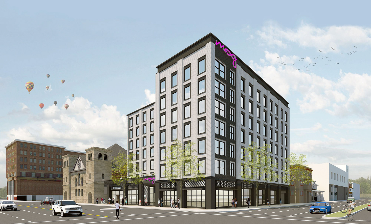 Moxy Hotel at 2225 Telegraph Avenue, rendering by Lowney Architects