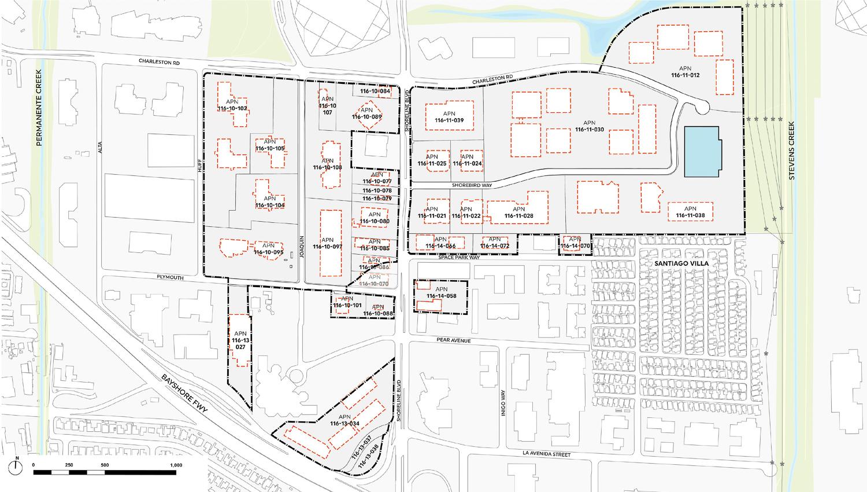 North Bayshore masterplan, map by Google
