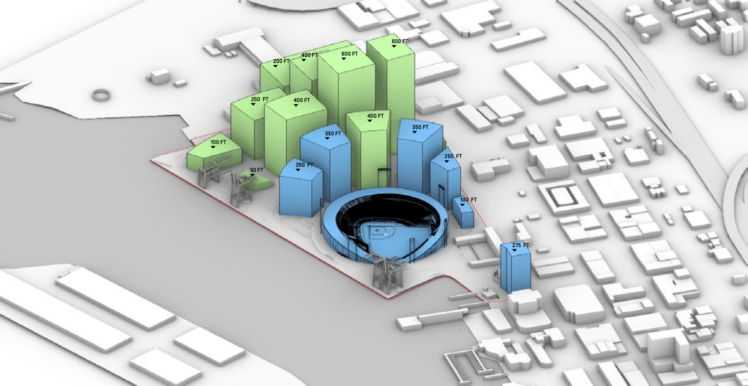 Oakland Waterfront Ballpark District project, illustration by BIG and JFCO