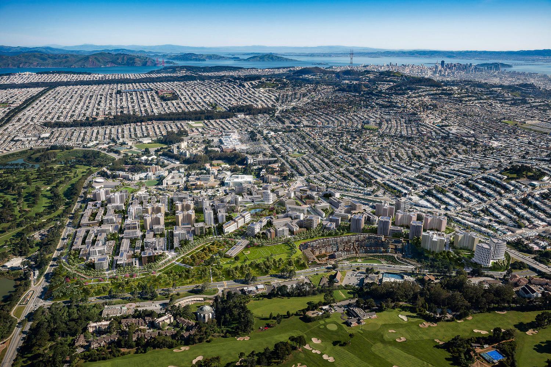 Parkmerced aerial view, design by SOM