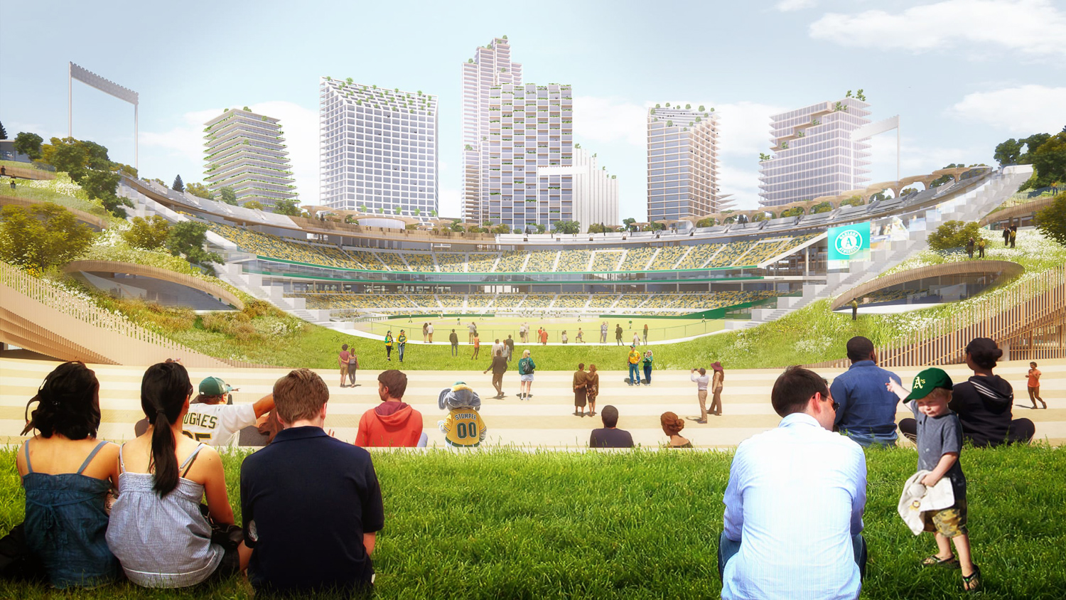 Public viewing over the Oakland Ball Park, rendering by BKF Engineers