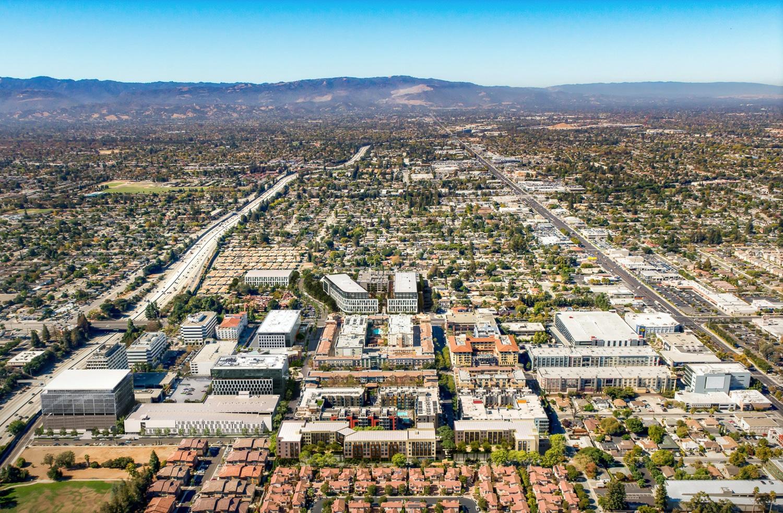 Santana West aerial view showing its burgeoning neighborhood, rendering by STUDIOS