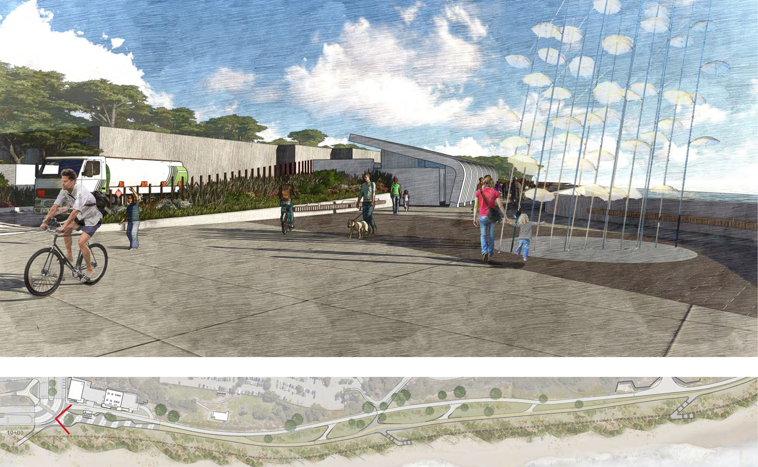 Sloat Plaza and restroom near the intersection along South Ocean Beach, illustration from MFLA