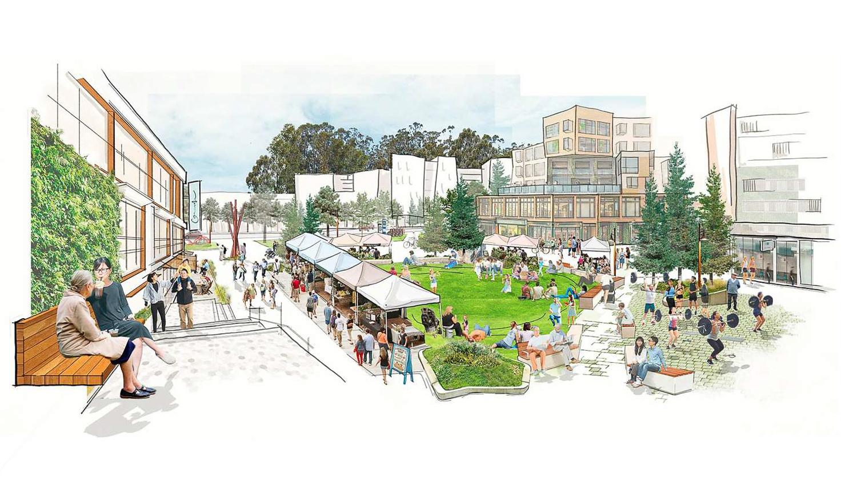 Stonestown Mall plaza, illustration courtesy Brookfield