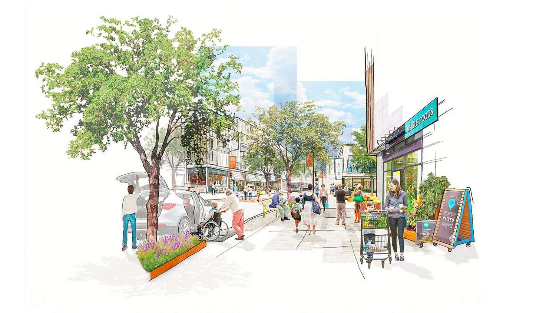 Stonestown Mall street walk, rendering courtesy Brookfield