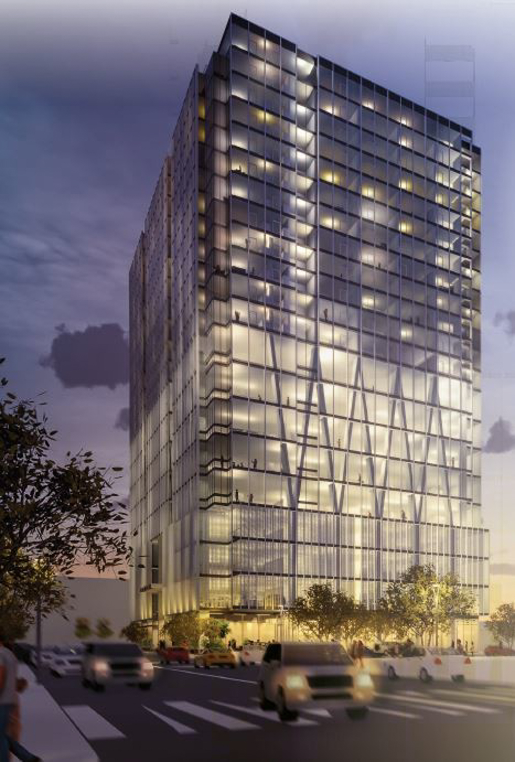 The Carlysle at 51 Notre Dame Avenue evening view, rendering courtesy CBRE and Acquity Realty