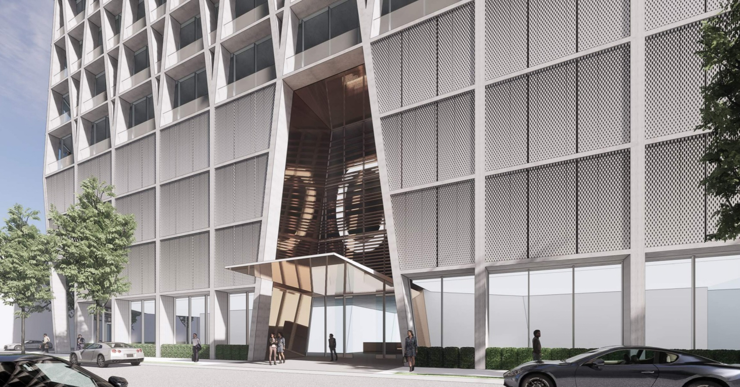 The Carlysle at 51 Notre Dame Avenue residential entry, rendering courtesy CBRE and Acquity Realty