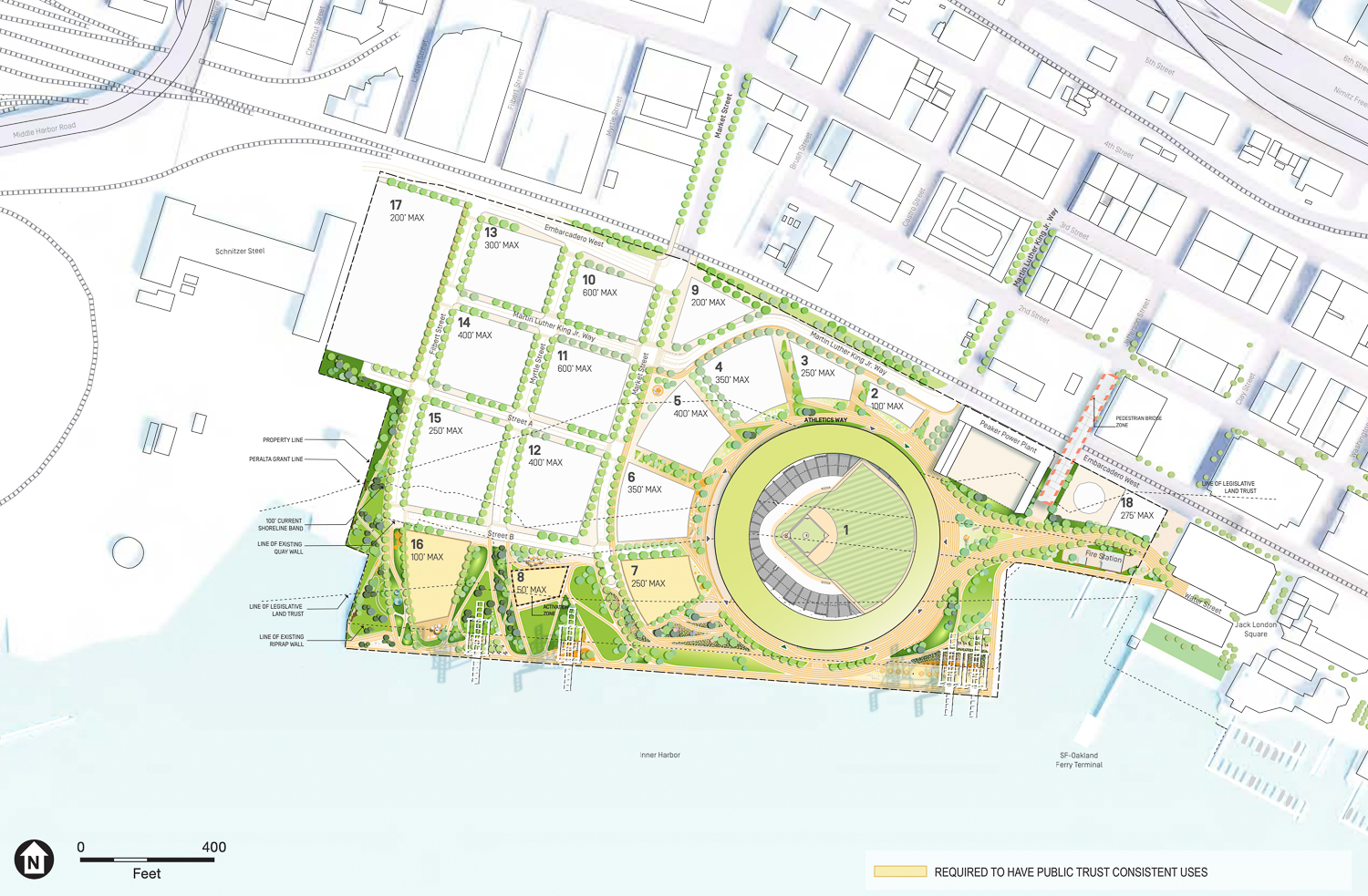 The Oakland Ball Park site map, rendering by BIG and JCFO