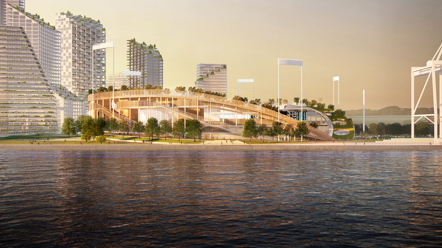 The Oakland Ball Park viewed from Alameda, rendering by BKF Engineers