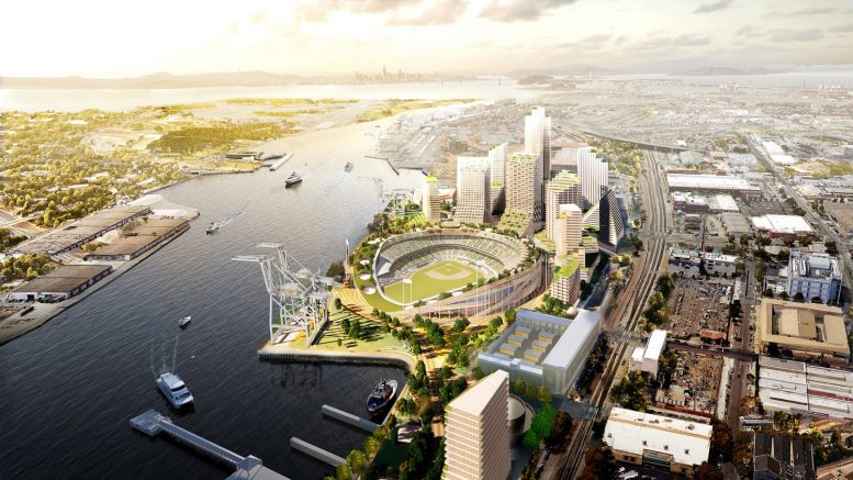 The Oakland Ball Park with the San Francisco skyline on the horizon, rendering by BKF Engineers