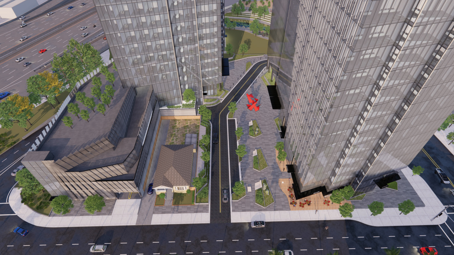 Woz Way Tower aerial perspective looking down onto the plaza, rendering by C2K Architecture