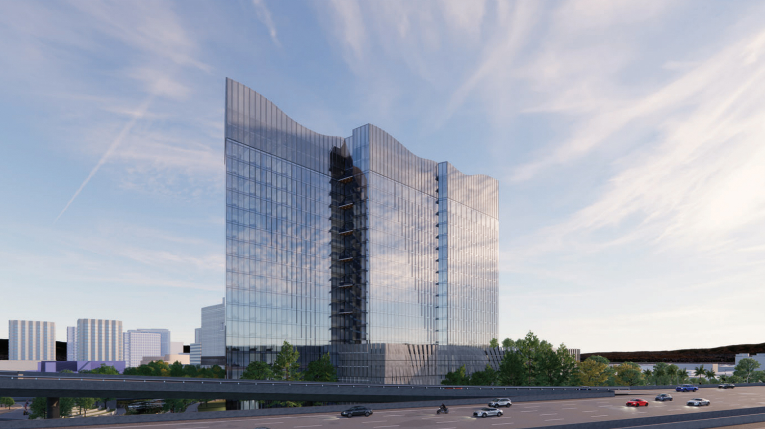 Woz Way Tower freeway perspective looking north, rendering by C2K Architecture