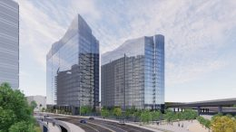 Woz Way Tower looking southeast from Woz Way, rendering by C2K Architecture