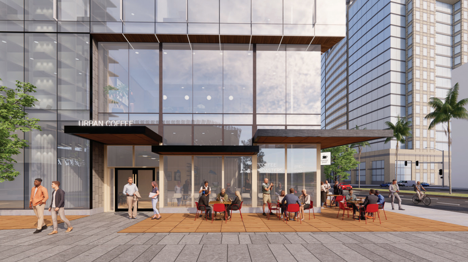 Woz Way Tower retail storefront, rendering by C2K Architecture