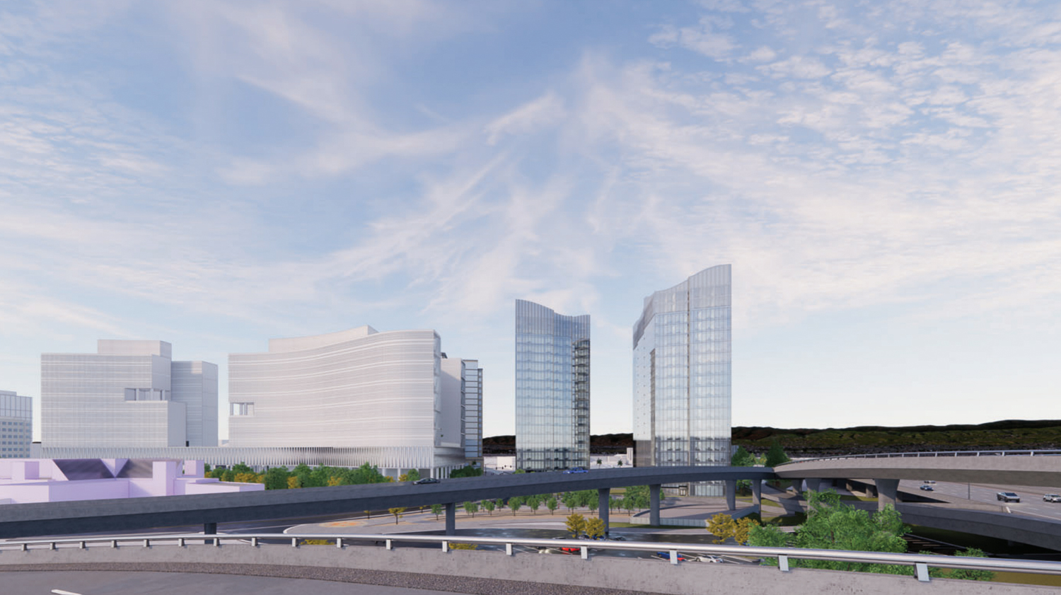 Woz Way Tower skyline perspective from the east, rendering by C2K Architecture