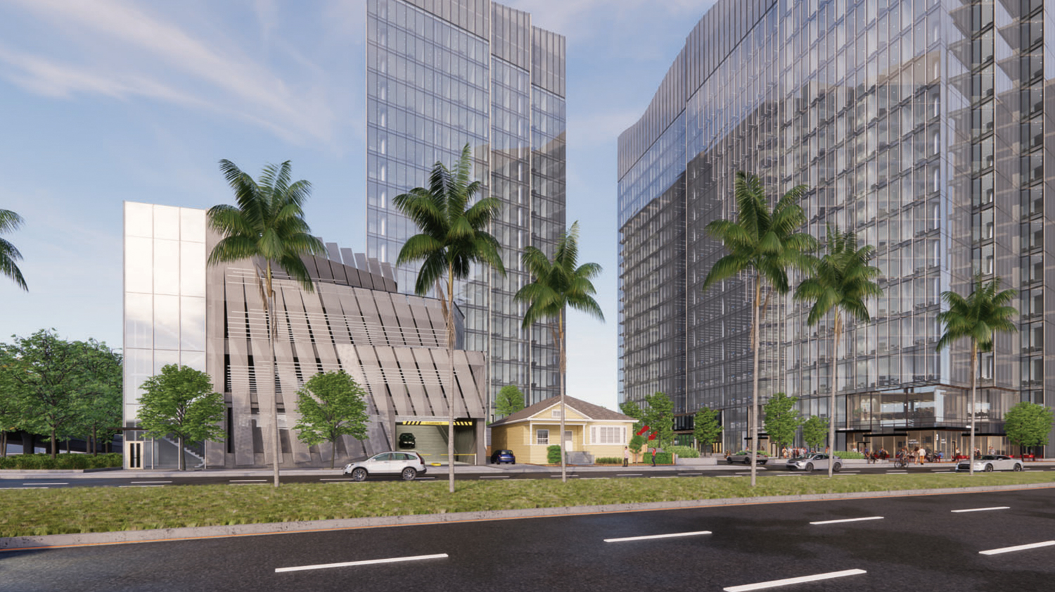 Woz Way Tower street perspective from Almaden Boulevard, rendering by C2K Architecture