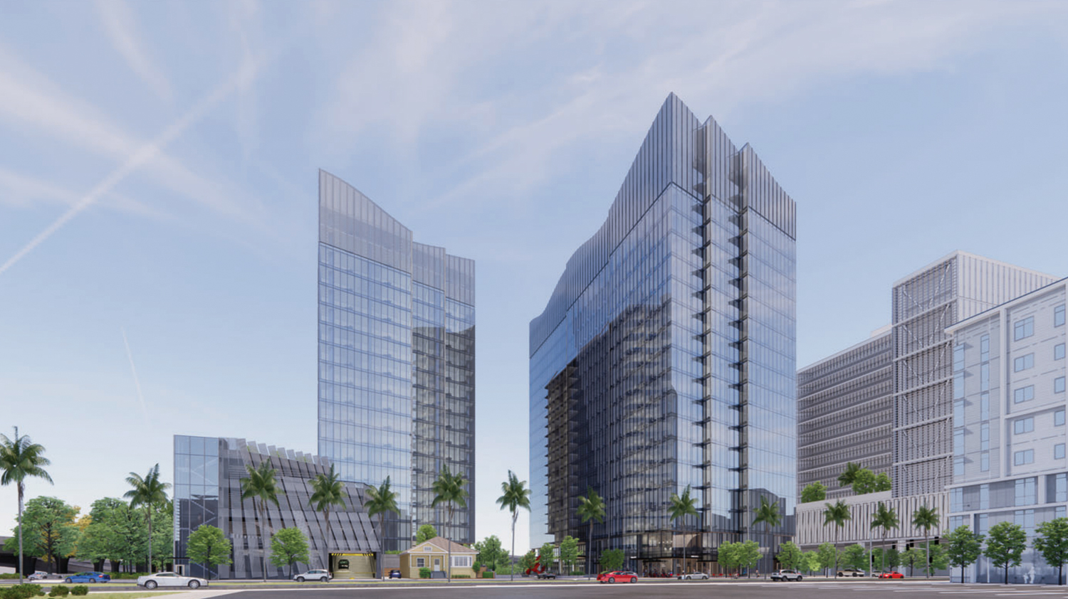 Woz Way Tower viewed from the west from Almaden Boulevard, rendering by C2K Architecture
