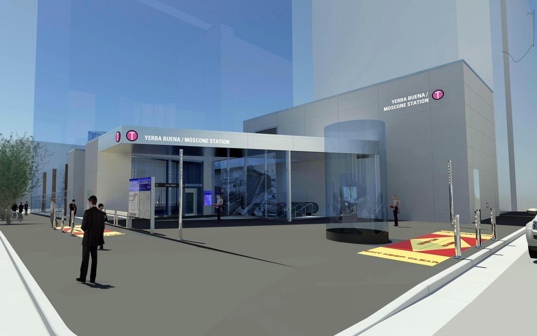 Yerba Buena Moscone Center station entrance, design by MWA Architects